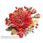Украшения handmade. Livemaster - original item brooch made of leather. flower brooch. Brooch red. Handmade.