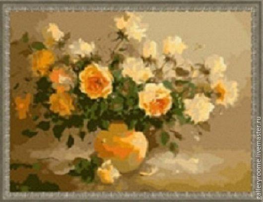 Другие виды рукоделия ручной работы. Ярмарка Мастеров - ручная работа. Купить Картина по номерам Букет желтых роз (художница Elzbieta Kolodziejska). Handmade.