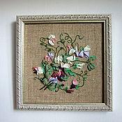 """Картины и панно ручной работы. Ярмарка Мастеров - ручная работа Вышивка лентами """"Душистый горошек"""". Handmade."""