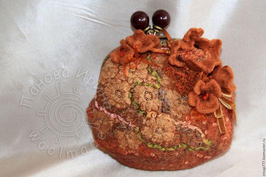 """Женские сумки ручной работы. Ярмарка Мастеров - ручная работа. Купить сумочка """"Шоколадный десерт"""". Handmade. Коричневый, сумочка с фермуаром"""