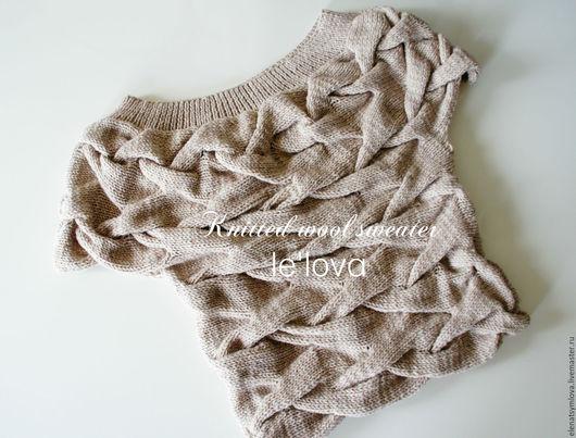 Кофты и свитера ручной работы. Ярмарка Мастеров - ручная работа. Купить Джемпер ручной вязки с косами серо-бежевого цвета. Handmade.