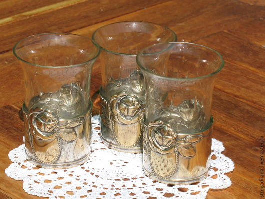 Винтажная посуда. Ярмарка Мастеров - ручная работа. Купить старинные стаканы на подставках с розами. Handmade. Золотой, модерн, хрусталь