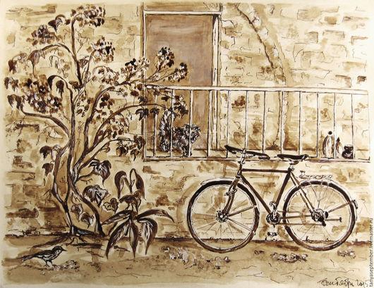 Город ручной работы. Ярмарка Мастеров - ручная работа. Купить Кофейная картина Иерусалимский дворик. Handmade. Коричневый, кофейная картина