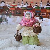 Подарки к праздникам ручной работы. Ярмарка Мастеров - ручная работа Ватная елочная игрушка ЗОЙКА торговка луком и чесноком. Handmade.