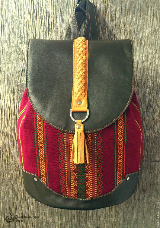 Рюкзаки ручной работы. Ярмарка Мастеров - ручная работа. Купить e.a.look рюкзак со славянским орнаментом (вишня). Handmade.