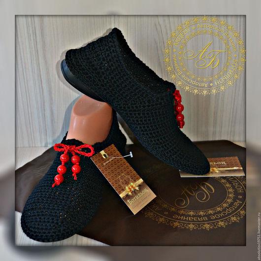 Обувь ручной работы. Ярмарка Мастеров - ручная работа. Купить Слипоны Синтия..цвет-чёрный.... Handmade. Черный, вязаная обувь
