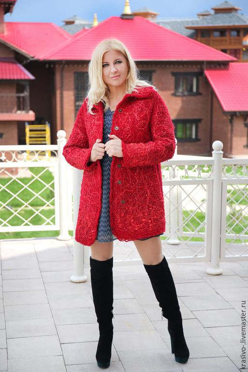 """Верхняя одежда ручной работы. Ярмарка Мастеров - ручная работа. Купить Пальто """"Красное вино"""". Handmade. Пальто женское"""