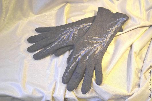 """Варежки, митенки, перчатки ручной работы. Ярмарка Мастеров - ручная работа. Купить Перчатки валяные """"Серебряные нити"""". Handmade. Серый"""