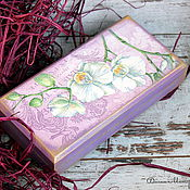 "Подарки к праздникам handmade. Livemaster - original item The box for banknotes ""Blooming Orchid"". Handmade."