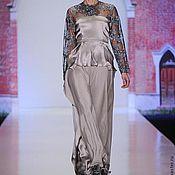 Одежда ручной работы. Ярмарка Мастеров - ручная работа Платье из серого шелка с биссером НЕВЕСТА. Handmade.
