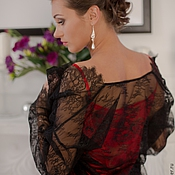 Одежда ручной работы. Ярмарка Мастеров - ручная работа Искушение - комплект из красной сорочки и черного кружевного пеньюара. Handmade.
