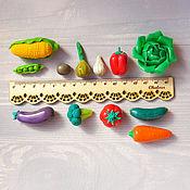 Куклы и игрушки ручной работы. Ярмарка Мастеров - ручная работа Овощи и фрукты из полимерной глины - Набор для игр с детьми. Handmade.