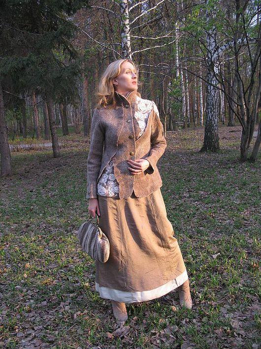 """Пиджаки, жакеты ручной работы. Ярмарка Мастеров - ручная работа. Купить Жакет """"Прогулка по старому парку"""". Handmade. Коричневый цвет"""