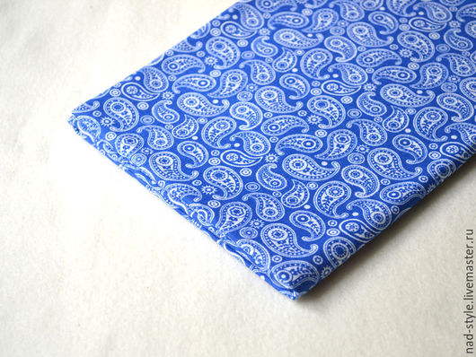 Шитье ручной работы. Ярмарка Мастеров - ручная работа. Купить Ткань, индийский огурец, синий фон. Handmade. Синий