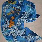 Аксессуары ручной работы. Ярмарка Мастеров - ручная работа Шарф-Батик``Золотая рыбка``(Русский сувенир-Палех). Handmade.