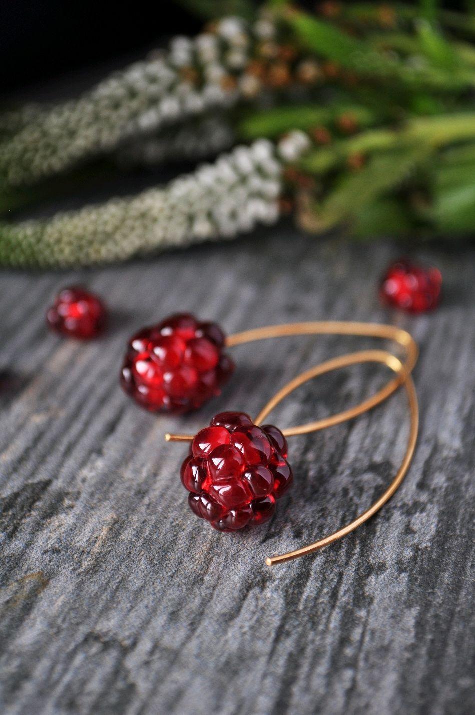 Red raspberry-long gold-plated earrings, Earrings, Moscow,  Фото №1