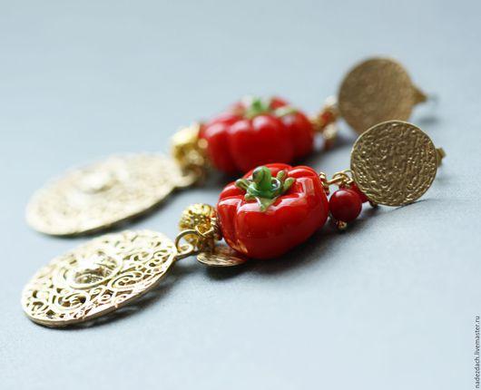 Серьги ручной работы. Ярмарка Мастеров - ручная работа. Купить Серьги с стиле D&G. Lampwork. Позолота. Handmade. Овощи