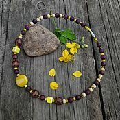 handmade. Livemaster - original item Beads necklace made of ceramic and wood. Handmade.
