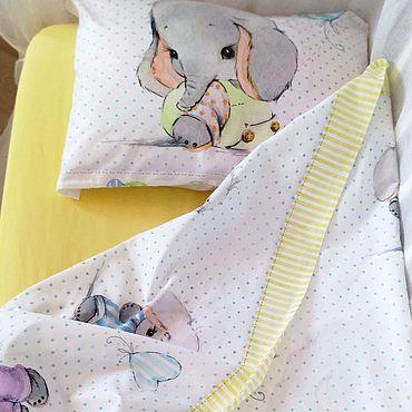 Текстиль ручной работы. Ярмарка Мастеров - ручная работа Комплект постельного белья в кроватку Слонята. Handmade.