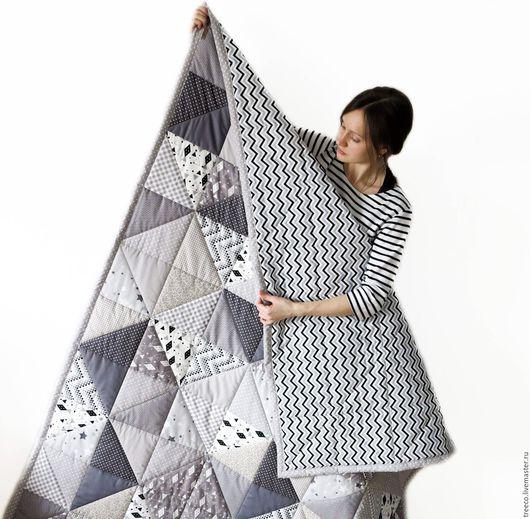 """Текстиль, ковры ручной работы. Ярмарка Мастеров - ручная работа. Купить Лоскутное одеяло """"все оттенки серого"""". Handmade. Серый"""