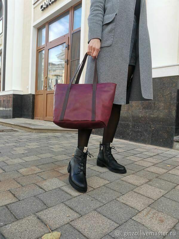 Сумка женская из натуральной кожи JADE цвет бордо с подкладкой, Классическая сумка, Тула,  Фото №1