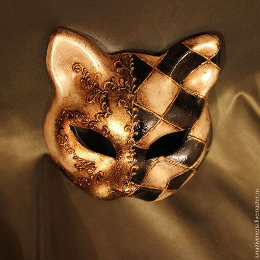 Карнавальные костюмы ручной работы. Ярмарка Мастеров - ручная работа. Купить Маска венецианская Кошка Гатта Домино (костюмная). Handmade.