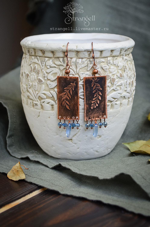 Pendientes de cobre con cristal azul Boho pendientes hojas Rectangulares, Earrings, Ulan-Ude,  Фото №1