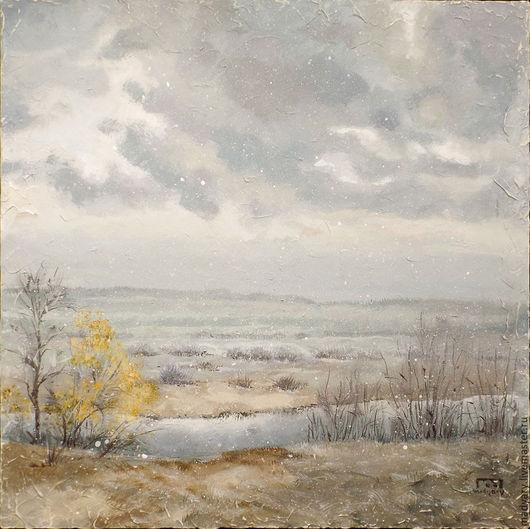 Пейзаж ручной работы. Ярмарка Мастеров - ручная работа. Купить картина Первый снег (поздняя осень, начало зимы, серый, бежевый). Handmade.