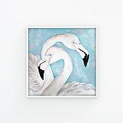 handmade. Livemaster - original item Flamingo, oil Painting, 20h20cm, Lovers, Two, In a frame. Handmade.