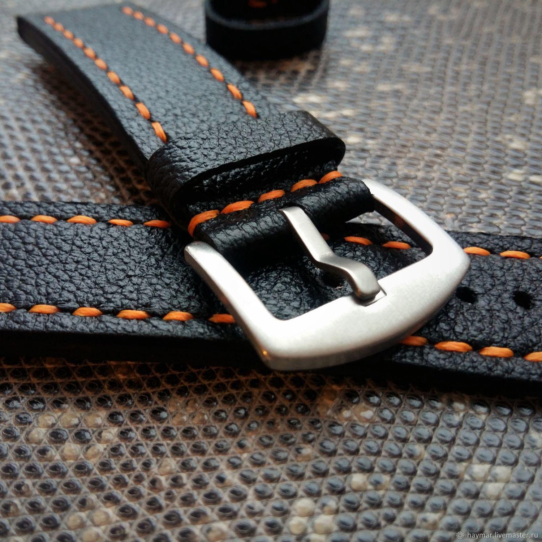 Black strap with orange stitching, Belt, Moscow,  Фото №1