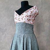 Одежда handmade. Livemaster - original item Linen sun skirt with corset belt. Handmade.