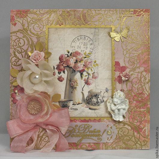 """Открытки на день рождения ручной работы. Ярмарка Мастеров - ручная работа. Купить Открытка """"Розовый букет"""". Handmade. Розовый"""