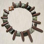 """Украшения handmade. Livemaster - original item Necklace """"Wooden story"""" of stone and wood. Handmade."""