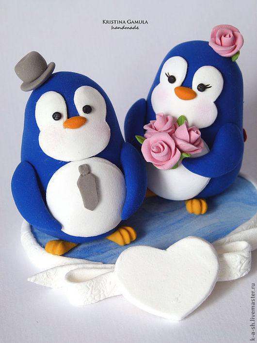 Свадебные аксессуары ручной работы. Ярмарка Мастеров - ручная работа. Купить Фигурки на свадебный торт (пингвины 2). Handmade. Фигурки