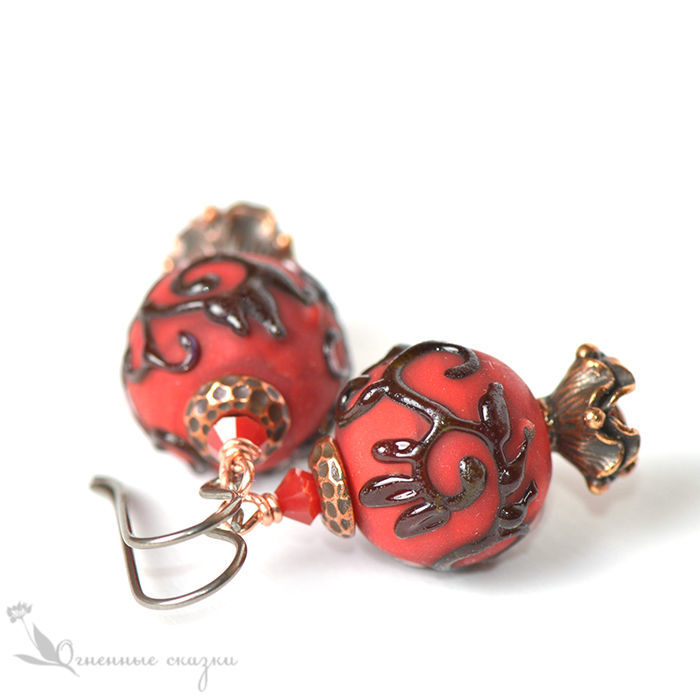 stylized pomegranate red coral black floral pattern frosted glass glass Oriental red black casual earrings lampwork earrings girl woman hypoallergenic