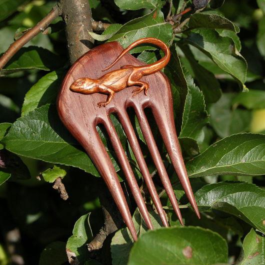 """Заколки ручной работы. Ярмарка Мастеров - ручная работа. Купить Заколка """"Ящерка"""". Handmade. Коричневый, украшение для волос, ясень"""