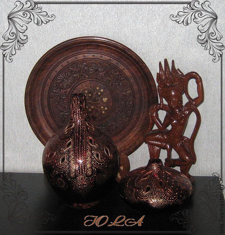 Стеклянные вазы из цветного стекла с ручной росписью в стиле Мехенди, Вазы, Москва,  Фото №1