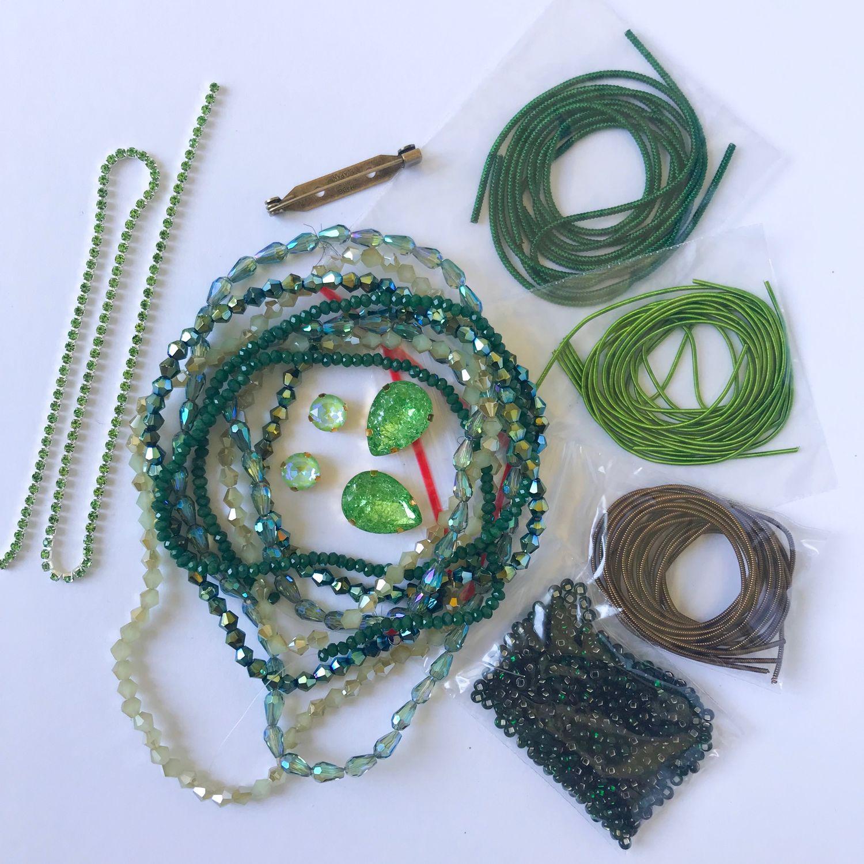Вышивка ручной работы. Ярмарка Мастеров - ручная работа. Купить Зелёный набор материалов. Handmade. Бисер, канитель медь