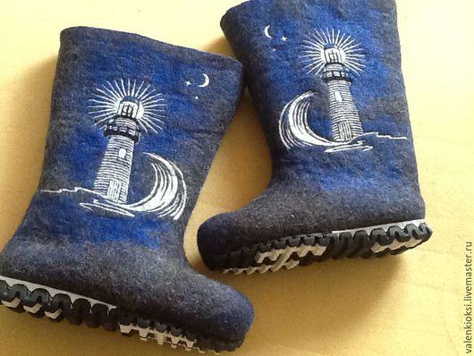 """Обувь ручной работы. Ярмарка Мастеров - ручная работа. Купить Валенки для мужчин """"Маяк"""". Handmade. Черный, валенки для улицы"""