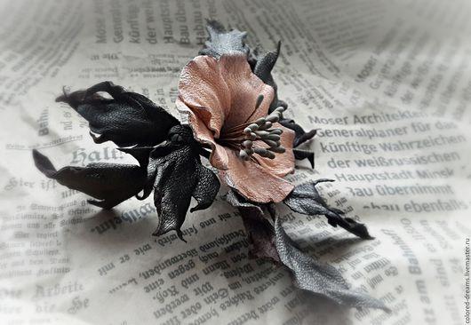 """Броши ручной работы. Ярмарка Мастеров - ручная работа. Купить Цветок из кожи, брошь """"Шиповник"""". Handmade. Коричневый, цветок"""
