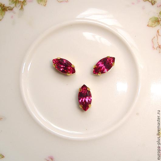 Для украшений ручной работы. Ярмарка Мастеров - ручная работа. Купить Винтажные кристаллы 10х5 мм - Fuchsia. Handmade. Фуксия