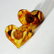 Украшения handmade. Livemaster - original item Earrings with amber Hearts, S-14. Handmade.