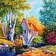"""Пейзаж ручной работы. Ярмарка Мастеров - ручная работа. Купить Картина """"Австрийская мельница"""" (холст, масло). Handmade. Оранжевый, пейзаж"""
