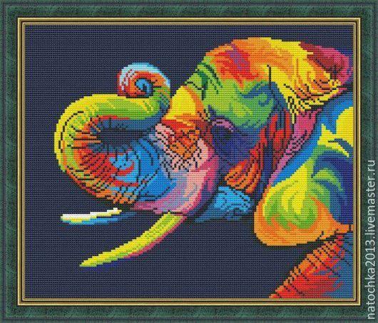 Животные ручной работы. Ярмарка Мастеров - ручная работа. Купить Картина цветной слон. Handmade. Комбинированный, слон, ручная работа