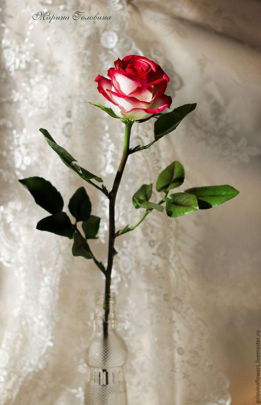 """Цветы ручной работы. Ярмарка Мастеров - ручная работа. Купить Роза из полимерной глины. Сорт """"Блаш"""". Handmade. Комбинированный, весна"""