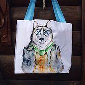 Подарки к праздникам ручной работы. Ярмарка Мастеров - ручная работа Сумка с принтом собака Хаски читает сказки. Handmade.