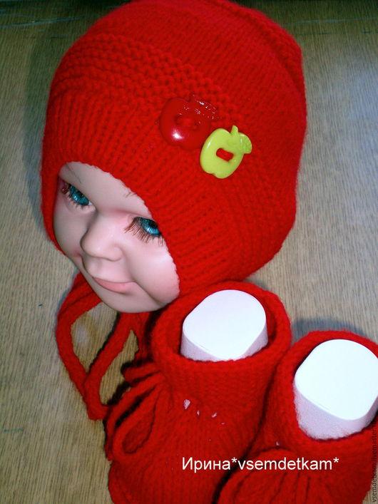 """Для новорожденных, ручной работы. Ярмарка Мастеров - ручная работа. Купить Детский вязаный набор """"Красное яблочко"""". Handmade. для новорожденных"""