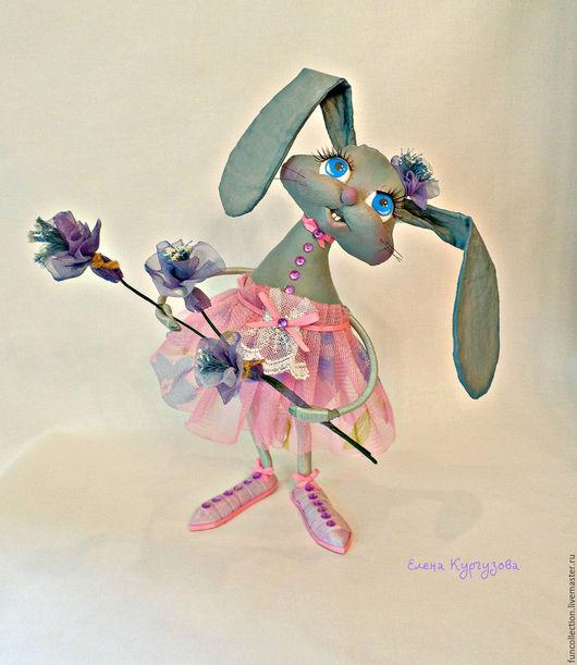 Куклы и игрушки ручной работы. Ярмарка Мастеров - ручная работа. Купить Зайка - поздравляйка.. Handmade. Розовый, грунтованный текстиль