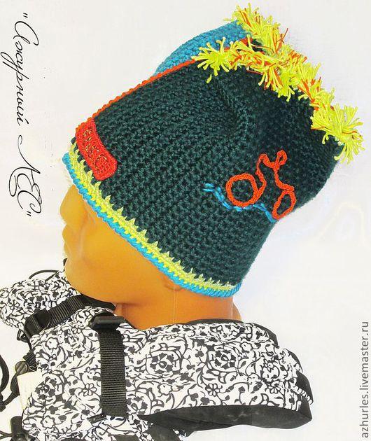 Шапки ручной работы. Ярмарка Мастеров - ручная работа. Купить Теплая зимняя шапка  с маленьким ирокезом Велосипед. Handmade.
