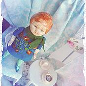 Куклы и игрушки ручной работы. Ярмарка Мастеров - ручная работа Маленькая куколка в синем. Handmade.